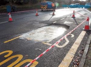 Sinkhole closes Shoppenhangers Road in Maidenhead