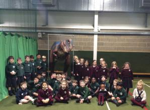 Claires Court pupils transported through time with Jam the T-Rex