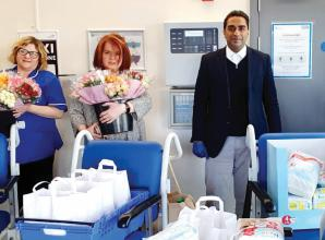 Flowers and food parcels delivered to hard-working hospital staff