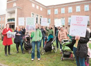 Climate protesters gather at Maidenhead Town Hall